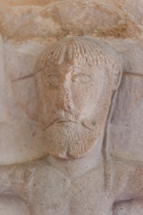 Saxon carving, head of Christ, Daglingworth