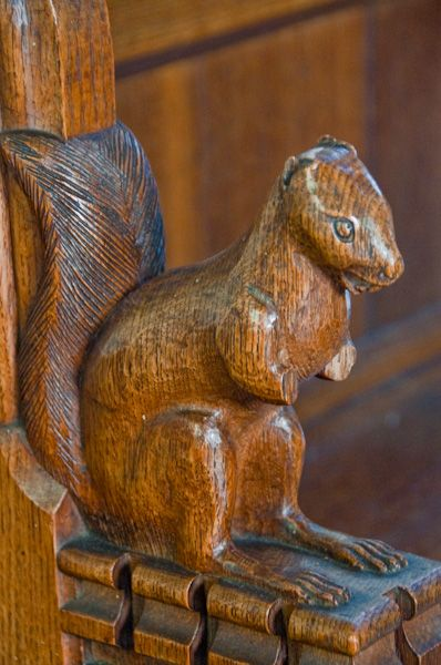 Dalham, St Mary's Church photo, Squirrel carving