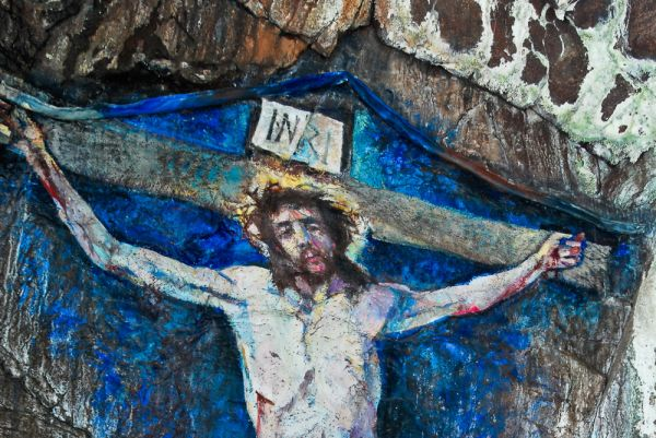 Davaar Island and Crucifixion Painting photo, The head of Christ