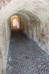 Cobbled passage to the central tower