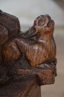 Denston, St Nicholas Church, Bench end hare carving