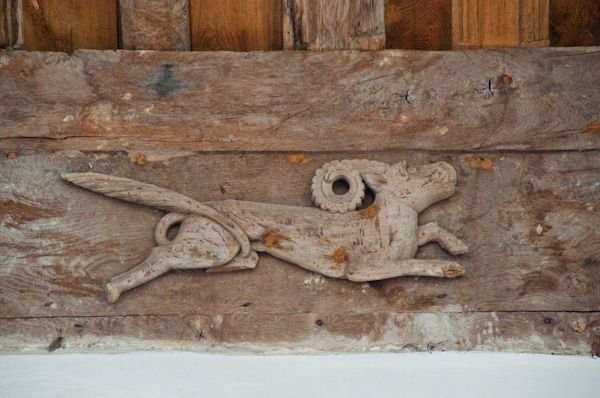 Denston, St Nicholas Church photo, Stag carving on wall plate