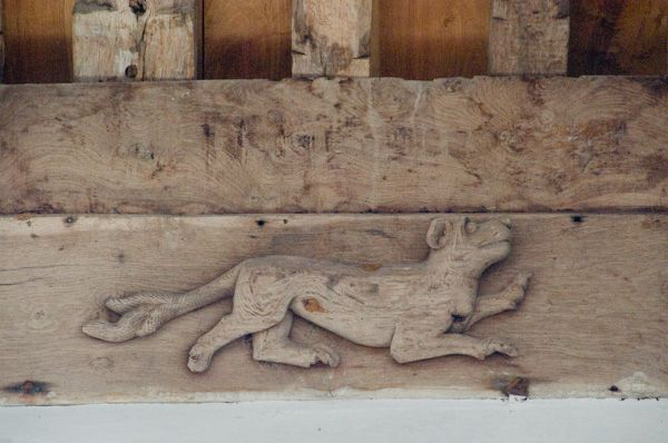 Denston, St Nicholas Church photo, Hound carving