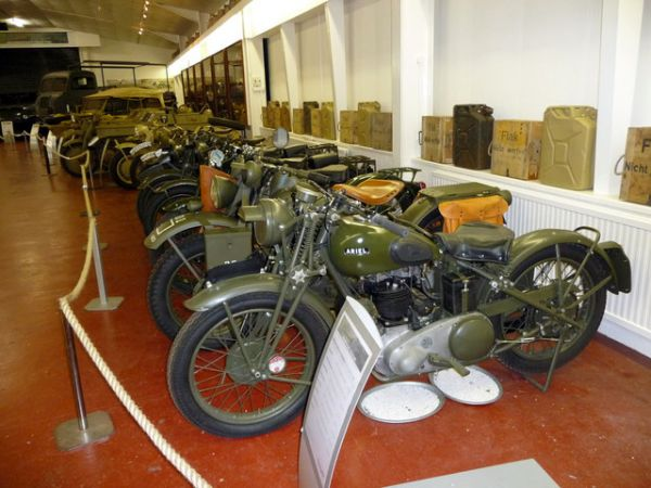 Donington Collection of Grand Prix Racing Cars photo, WWII motorcycle exhibit (c) Christine Matthews