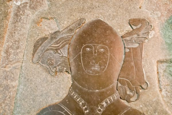 Dorchester Abbey photo, Medieval brass of a knight
