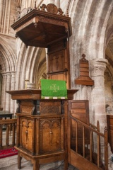Carved pulpit and sounding board