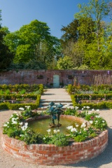 The formal gardens and pool