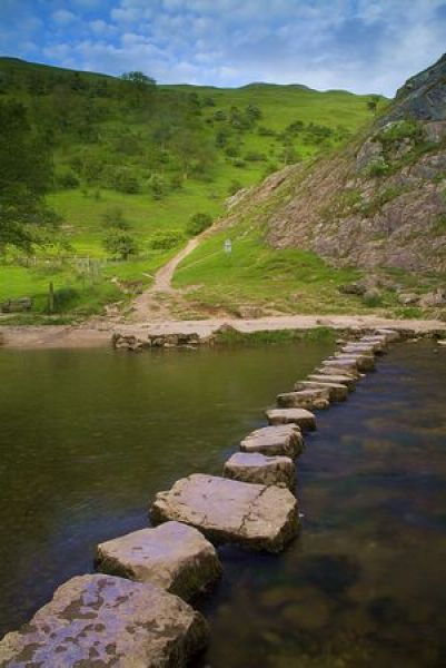 Ilam Park and Hall photo, Stepping stones across the River Dove