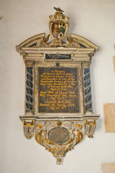 Dowdeswell, St Michael's Church photo, Edward Rich memorial (1680)