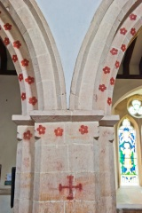 Painted nave arches, Down Ampney church