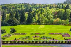 Drumlanrig Castle, The formal gardens from the first floor of the castle