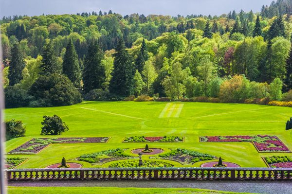 Drumlanrig Castle photo, The formal gardens from the first floor of the castle