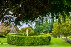 Drummond Castle Gardens, A circular hedge and statue
