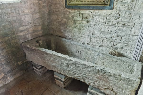 Duntisbourne Abbots, St Peter's Church photo, 13th century stone coffin