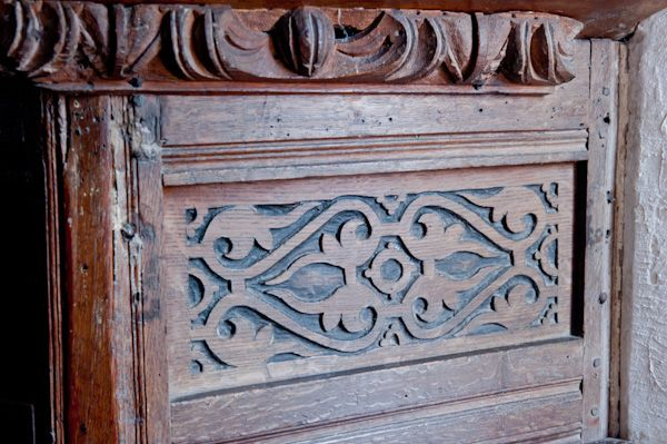 Duntisbourne Rouse, St Michael's Church photo, Jacobean pulpit carving