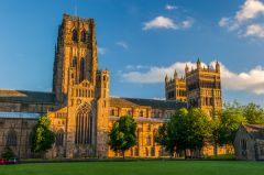 Durham Cathedral, The cathedral green, evening light