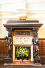 Ornate fireplace in the entrance hall