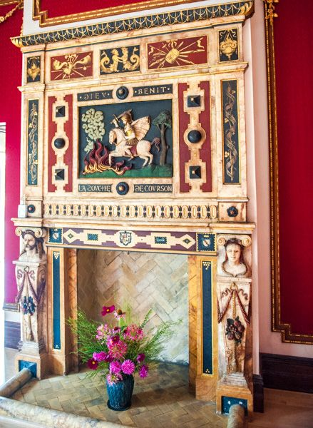 Dyffryn Gardens and Arboretum photo, Fireplace in the Crimson Room