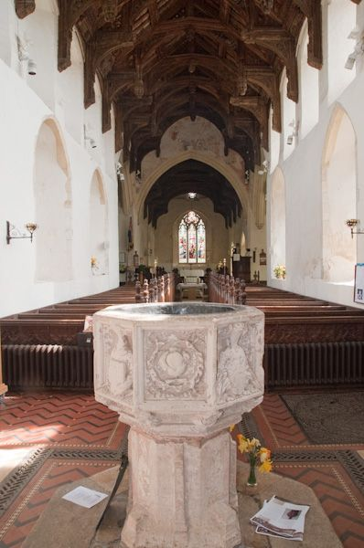 Earl Stonham, St Mary's Church photo, Font and nave