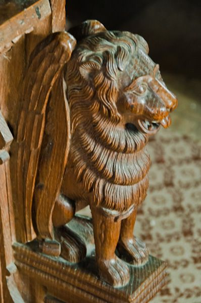 Earl Stonham, St Mary's Church photo, Lion carving