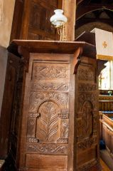 Ebrington, St Eadburgha's Church, 17th century pulpit and sounding board