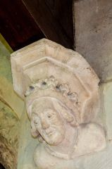 Ebrington, St Eadburgha's Church, Medieval carved head, south aisle arcade