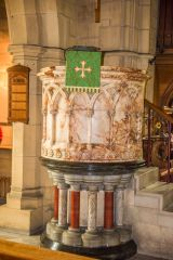 The ornate marble pulpit