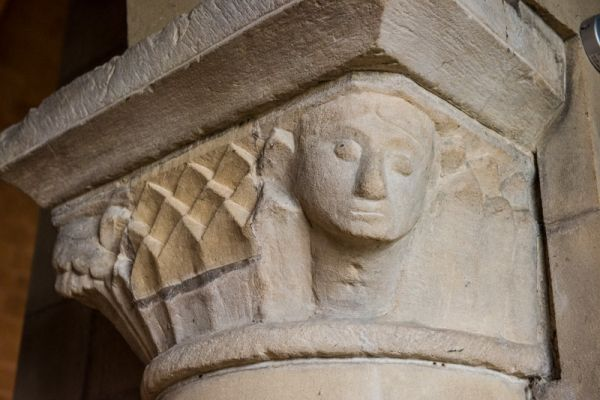 Edensor, St Peter's Church photo, Norman pillar capital