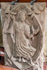 Carved stone panel, summerhouse