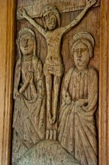 16th century carved panel of the Crucifixion