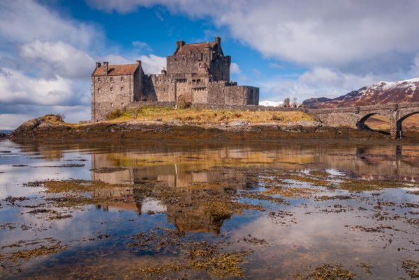 Eilean Donan Castle photo, A little frosting of snow on the hills