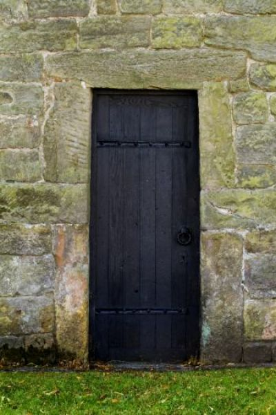 Escomb Saxon Church photo, North door, made with Roman stones from Binchester