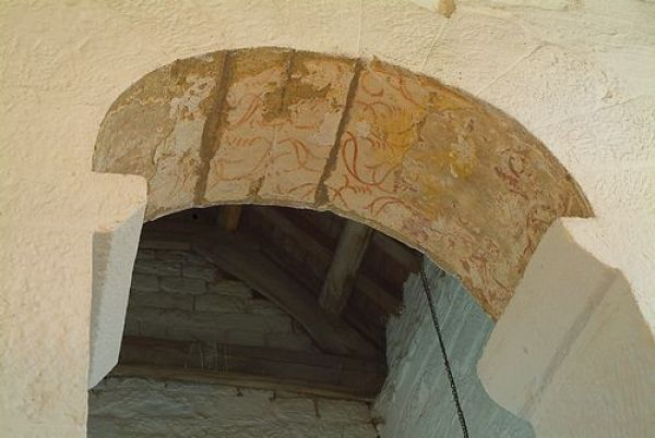 Escomb Saxon Church photo, Chancel arch with re-used Roman stones