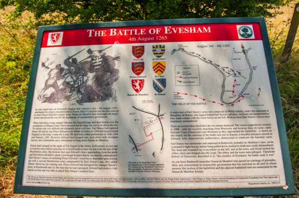 Battle of Evesham Battlefield photo, A closer look at the interpretive panel erected by the Simon de Montfort Society