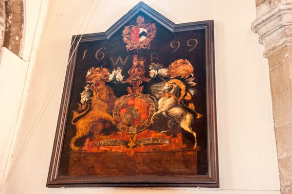 Exeter, St Olave's Church photo, William III coat of arms, 1699