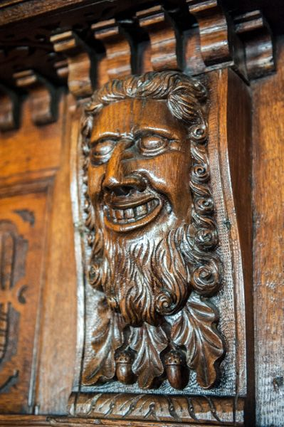 Tucker's Hall photo, Carved face on the Jacobean panelling