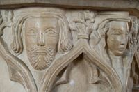 Exton Church, Font carved heads
