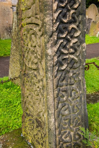 Eyam, St Lawrence Church photo, Celtic interlace on the cross-shaft