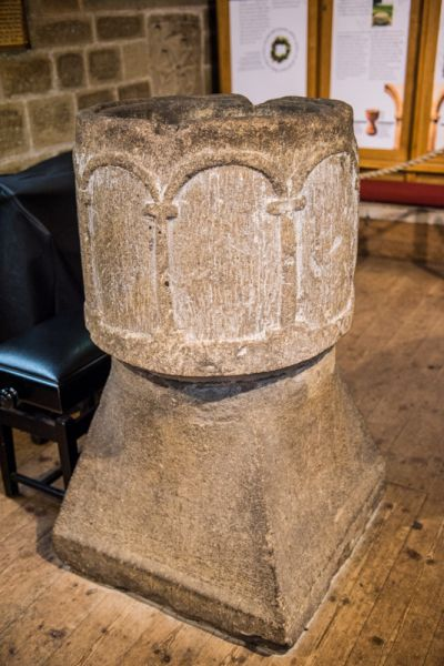 Eyam, St Lawrence Church photo, The late Saxon font