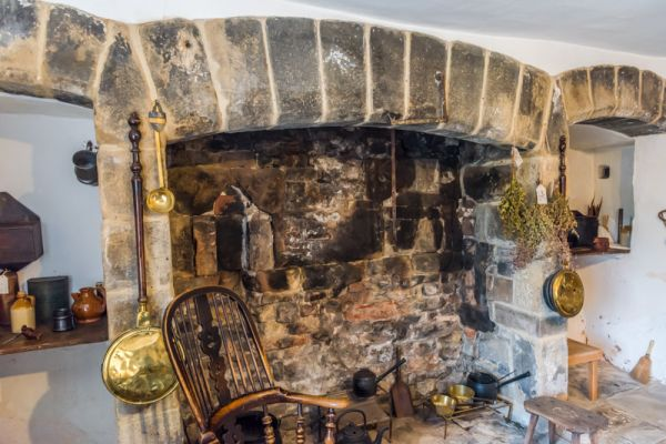Eyam Hall photo, The original kitchen fireplace