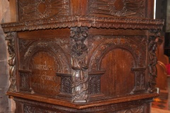 Carved panels on 17th century pulpit
