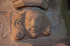 Carved corbel head