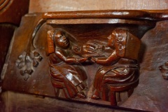 Medieval misericord, domestic scene