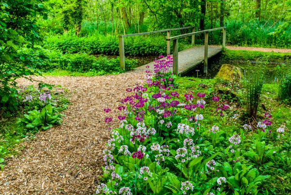 Fairhaven Garden photo, A flower-lined path and bridge