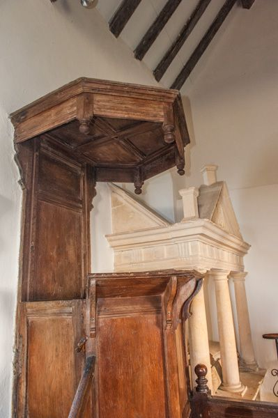 Farmcote, St Faith's Church photo, The Jacobean pulpit and sounding board