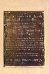 Memorial plaque to Richard Bucknoll, 1632