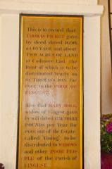 Fingest, St Bartholomew's Church, Dedication board