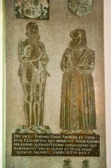 Firle, St Peter's Church, Thomas and Elizabeth Gage brass, 1590
