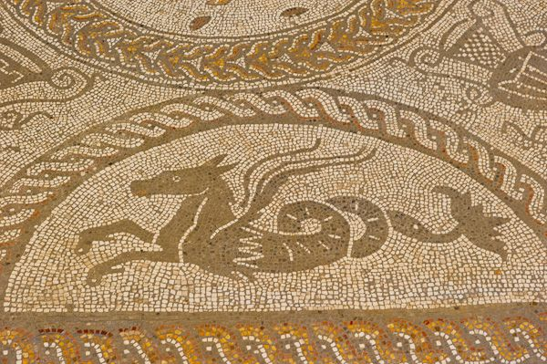 Fishbourne Roman Palace photo, Hippogryph mosaic