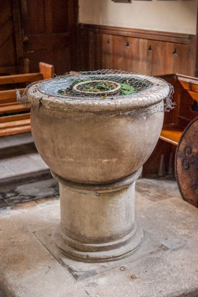 Fisherton Delamere, St Nicholas Church photo, The 12th century font